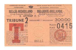 Kaartje België - Nederland, 19 november 1972