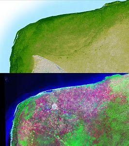 De Chicxulub krater vanuit de lucht gezien
