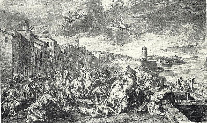 1727 Gravure van Tourette overledenen uit Marseille worden de stad uitgedragen
