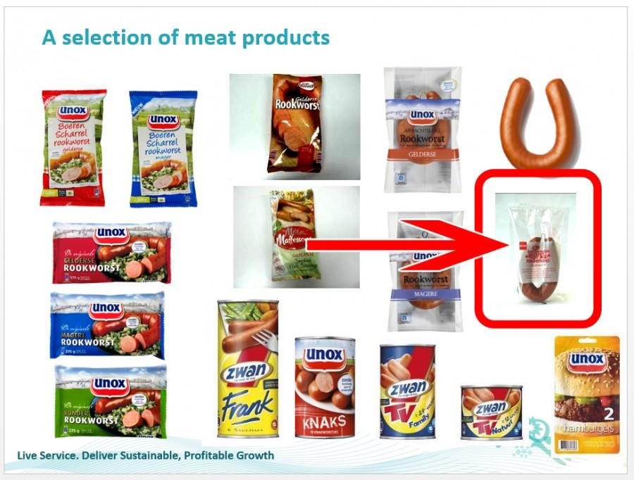 De Hema rookworst in een Unilever Presentatie