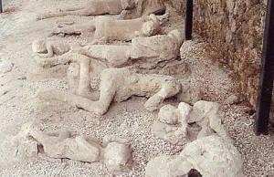 Restanten van slachtoffers vele eeuwen later na de uitbarsting van de Vesuvius