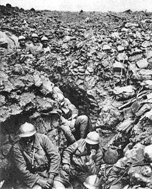 Franse soldaten in de loopgraven tijdens de Slag om Verdun