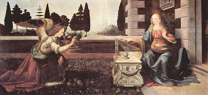 Leonardo Da Vinci - De Annunciatie / Annunciation (1472-1475)