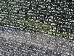 Enkele van de duizenden namen op het Vietnam Veterans Memorial
