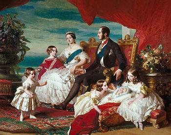 Koningin Victoria en prins-gemaal Albert met hun vijf oudste kinderen.