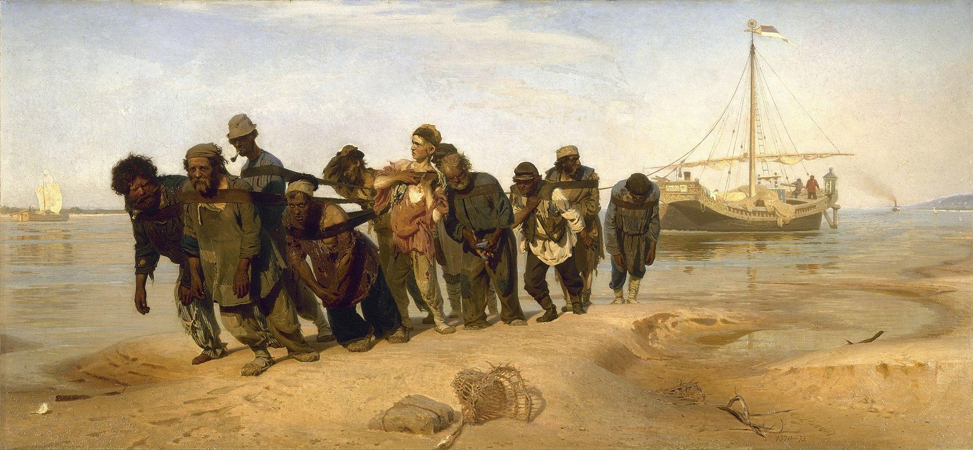 Ilya Repin - De Wolgaslepers, versie 2 (1873)