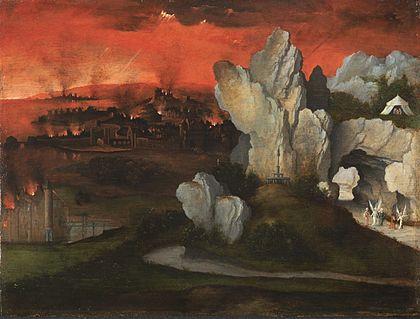 Joachim Patinir - Landschap met de brand van Sodom en Gomorra (Ca. 1520)