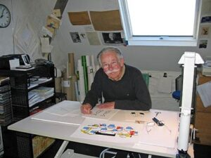 Dick Bruna in zijn atelier - foto Dolph Kohnstamm 2007