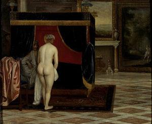 Eglon van der Neer -De vrouw van Kandaules ontdekt de verstopte Gyges, 1675-1680