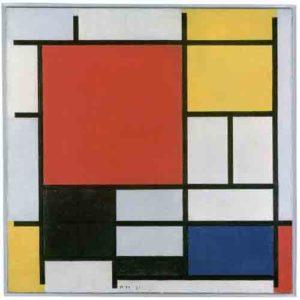 Piet Mondriaan: Compositie met groot rood vlak, geel, zwart, grijs en blauw - 1921