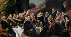 De officieren van de Sint-Jorisschutterij aan hun afscheidsmaaltijd - Frans Hals - 1616