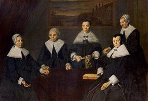 Groepsportret van de regentessen van het Oudemannenhuis - Frans Hals - 1664