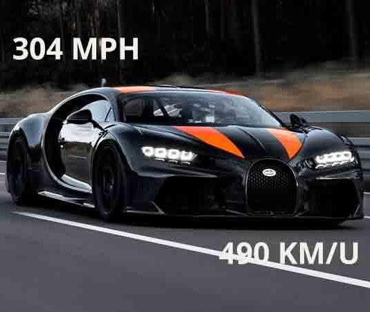 Snelste auto op aarde is de Bugatti Chiron op film met 490 k/m per uur