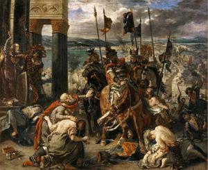 beroemdste schilderijen van Delacroix Entrée des Croisés à Constantinople / Aankomst van de kruisvaarders in Constantinopel - Eugène Delacroix