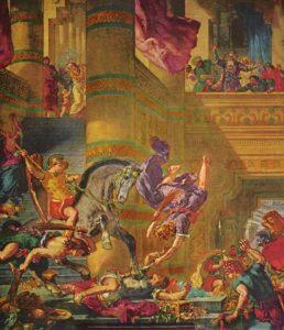 beroemdste schilderijen van Delacroix Héliodore chassé du temple / De verdrijving van Heliodorus uit de tempel (1857) -Eugène Delacroix