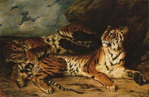 Jeune tigre jouant avec sa mère / Jonge tijger met zijn moeder (1830 - 1831) - Eugène Delacroix