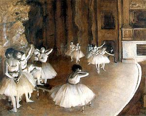 Répétition d'un ballet sur la scène / Repetitie van een ballet op het podium (1874) - Edgar Degas