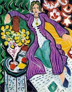 Robe violette et anémones / Dame in paarse jurk (1937) - Henri Matisse