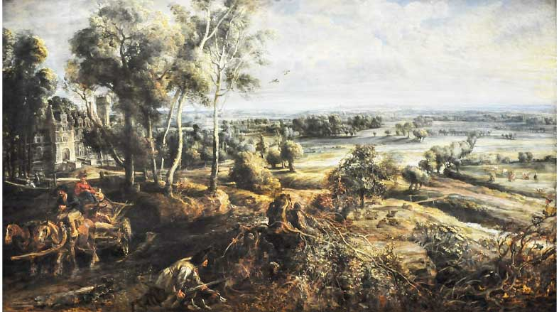 Herfstlandschap met uitzicht op het Steen (1636)- Peter Paul Rubens