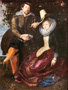 Portret van de kunstenaar en zijn vrouw in een prieel van kamperfoelie (1609-1910) - Peter Paul Rubens