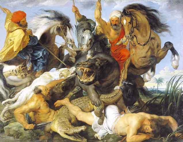 De jacht op een krokodil en nijlpaard (1615–1616)- Peter Paul Rubens