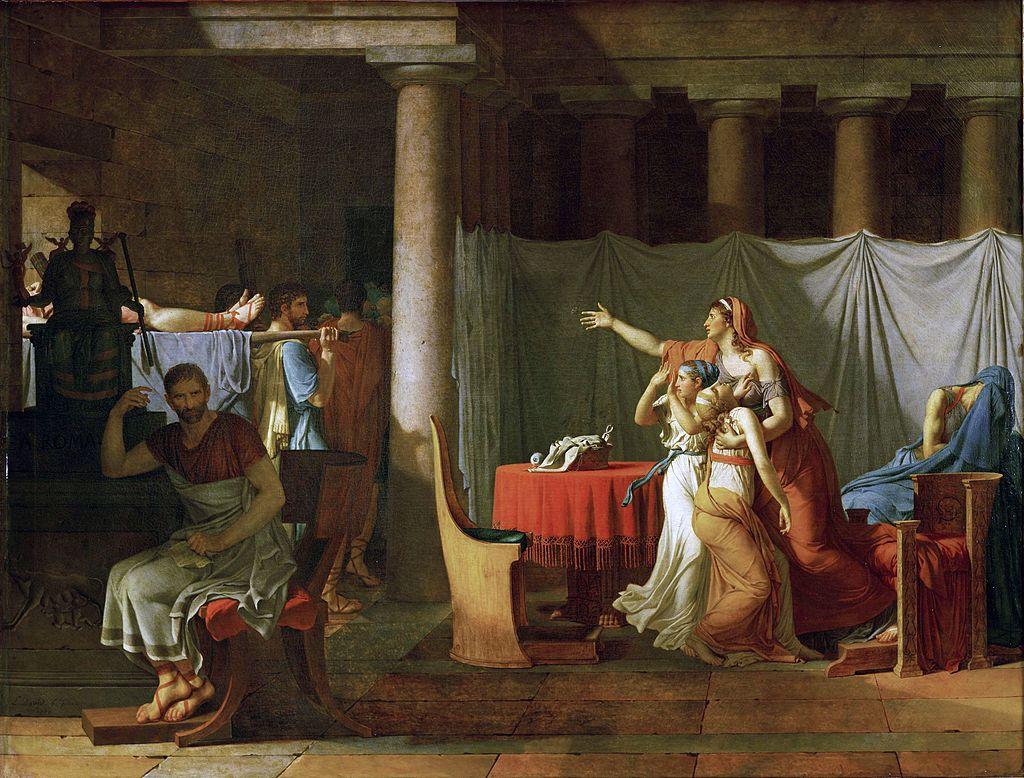Les licteurs rapportent à Brutus les corps de ses fils / De lictoren brengen Brutus de lichamen van zijn zonen (1789) - Jacques-Louis David