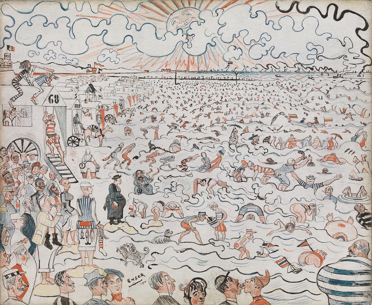 De baden in Oostende (1890) - James Ensor