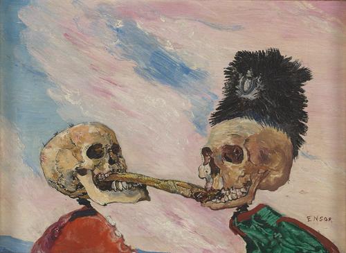 Skeletten bekvechten om een bokking (1891) - James Ensor