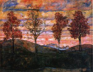 Vier Bäume / Vier bomen (1917) - Egon Schiele