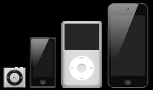 Van links naar rechts: iPod Shuffle, iPod Nano, iPod Classic, iPod Touch