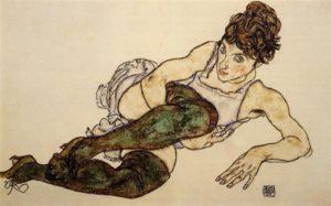 Sitzende Frau mit hochgezogenem Knie o. Donna Seduta / Liggende vrouw met groene kousen (1917) - Egon Schiele
