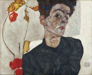 Selbstporträt mit Physalis / Zelfprotret met Goudbessen(1912) - Egon Schiele