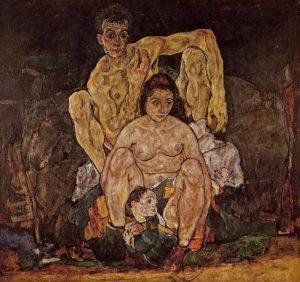 Kauerndes Menschenpaar (Die Familie) / De Familie (1918) - Egon Schiele