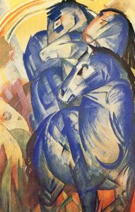 Der Turm der blauen Pferde / De toren van blauwe paarden (1913) - Franz Marc - Beroemdste schilderijen van Franz Marc