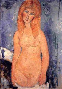 In piedi nudo con cenmise / Staande naakt met hemd(1917) - Modigliani