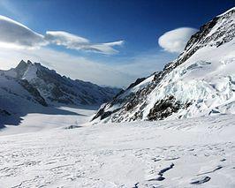 Konkordiaplatz gezien vanaf Jungfraujoch