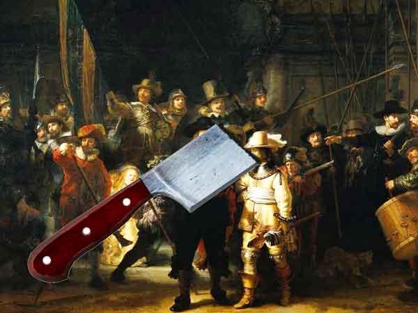 Vernielde schilderijen met name door vandalen