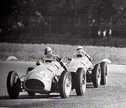 Alberto Ascari en Luigi Villoresi in actie tijdens de Grand Prix Formule 1 van Italië 1952.
