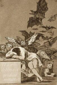 De slaap van de rede brengt monsters voort, het bekendste werk uit de Los Caprichos.