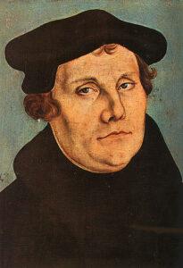 Maarten Luther geschilderd door Lucas Cranach de Oude in 1529.