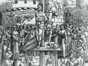 William Tyndale op de brandstapel in Vilvoorde.