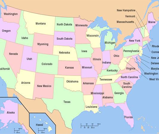 Grootste staten van de Verenigde Staten - inwoners en km2 - Top 50