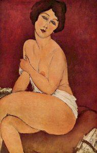 Nudo seduto su un divano / Naakt zittend op een sofa (1917) - Amedeo Modigliani