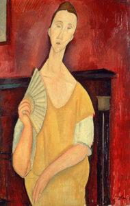 Ritratto di Lunia Czechowska con ventaglio / Portret van Lunia Czechowska met waaier (1919) - Amedeo Modigliani