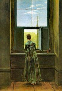 Frau am Fenster / Vrouw aan het raam (1822) - Caspar David Friedrich