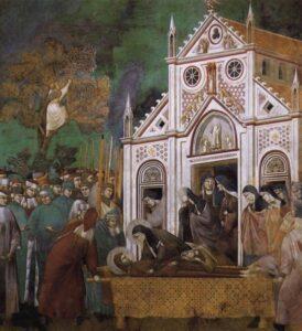 San Francesco rimpianto da S. Chiara / Clara van Assisi rouwt om de dood van Franciscus van Assisi (c.1300) - Giotto di Bondone