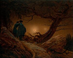 Zwei Männer in Betrachtung des Mondes / Twee mannen kijken naar de maan (ca. 1825–30) - Caspar David Friedrich