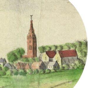 Nicolaikerk met de in 1834 afgebroken toren op het cartouche van de Coenderskaart uit ca. 1675