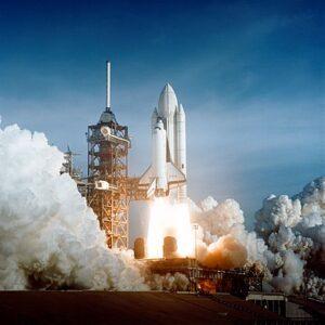 Eerste lancering van een spaceshuttle: Columbia, op 12 april 1981