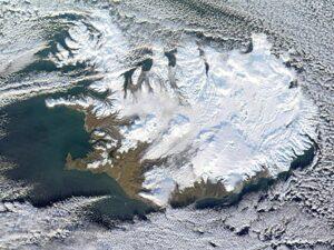 IJsland 's winters vanuit de ruimte